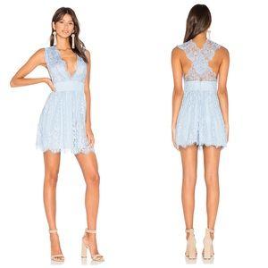 Majorelle | Moonlit Lace Dress In Dusty Blue